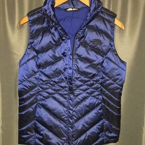 North Face goose down shimmer blue vest small